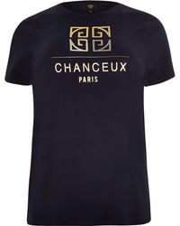 River Island - Plus Navy 'chanceux' Print T-shirt - Lyst