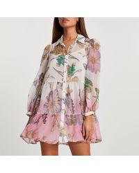 River Island White Ombre Floral Beach Shirt Dress