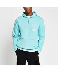 River Island Green Back Graphic Slim Fit Hoodie