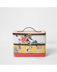 River Island - Yellow Floral Print Vanity Case Bag - Lyst