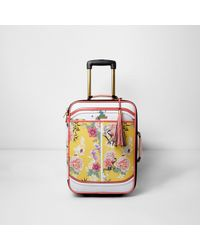 River Island Yellow Floral Print Cabin Suitcase
