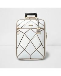 River Island White And Rose Gold Panel Cabin Suitcase
