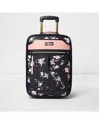 River Island - Black Floral Print Cabin Suitcase - Lyst
