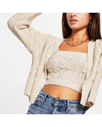 River Island Cream Knitted Cardi And Bralet Set - Natural