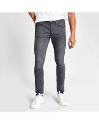 River Island Gray Sid Skinny Fit Jeans