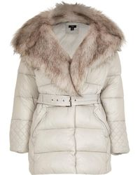 River Island Petite Gray Faux Fur Padded Coat