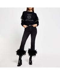 River Island Black Feather Trim Flared Jeans