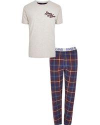 River Island - Big And Tall 'sleep Till Noon' Pyjama Set - Lyst