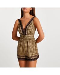 River Island Brown Belted Cover Up Playsuit