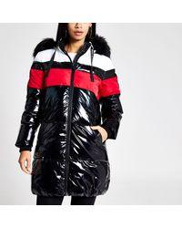 River Island Black Color Blocked Longline Puffer Jacket