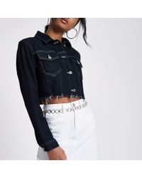 River Island - Dark Denim Raw Hem Cropped Jacket - Lyst