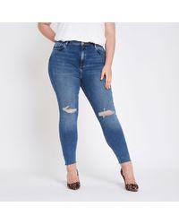 River Island - Plus Blue Original Mid Rise Skinny Jeans - Lyst