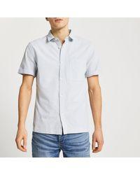 River Island Green Textured Short Sleeve Shirt