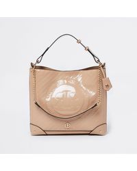 River Island Beige Ri Patent Embossed Slouch Bag - Natural