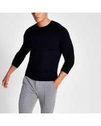 7b7b4a11633c02 River Island Ecru Cable Knit Cricket Jumper in Natural for Men - Lyst