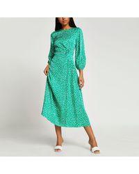River Island Green Ruched Maxi Dress