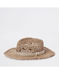 b2c3b8e3e67 River Island Beige Pom Pom Straw Fedora Hat in Natural - Lyst