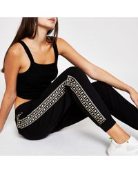 River Island Black Ri Diamante sweatpants