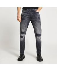 River Island Black Dylan Washed Ripped Detail Jeans