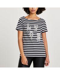 River Island Black 'love' Diamante Stripe T-shirt
