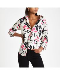 River Island - Pink Animal Print Loose Fit Shirt - Lyst