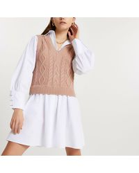 River Island Brown Cable Knit Tank Dress