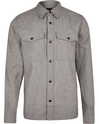 River Island Grey Long Sleeve Flannel Shirt