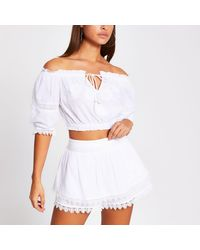 River Island White Embroidered Beach Shorts