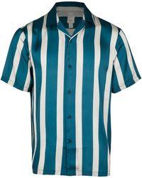 River Island Stripe Revere Short Sleeve Shirt - Green
