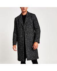 River Island Grey Herringbone Wool Overcoat - Gray