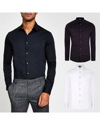 River Island White Long Sleeve Muscle Fit Shirt 2 Pack
