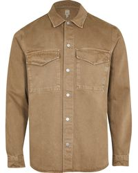 River Island Brown Washed Long Sleeve Shacket