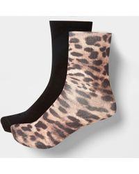 River Island - Brown Leopard Print Ankle Socks Multipack - Lyst