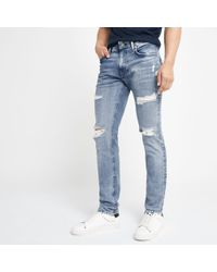 River Island - Pepe Jeans Light Blue Stanley Ripped Jeans - Lyst