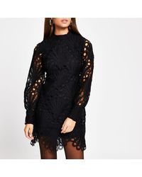 River Island Black Lace Puff Sleeve Shift Dress
