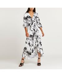 River Island Black Marble Print Maxi Dress