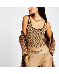 River Island Brown Ri Monogram Print Knitted Vest