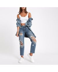 River Island - Mid Blue Embellished Ripped Boyfriend Jeans - Lyst