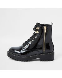 River Island Black Wide Fit Patent Chunky Flat Ankle Boot