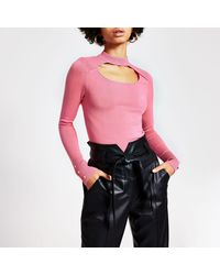River Island Cut Out Choker Knitted Jumper - Pink