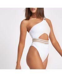 River Island - Rib Elastic One Shoulder Swimsuit - Lyst