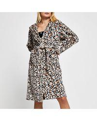 River Island Beige Leopard Print Plush Robe - Natural