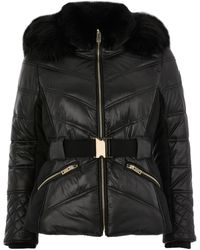 River Island Petite Black Padded Faux Fur Fitted Coat