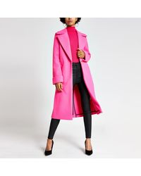 River Island Bright Pink Single Breasted Longline Coat