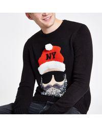 River Island - Christmas Jumper With Glitter Santa In Black - Lyst