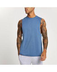 River Island Blue Slim Fit Tank Vest