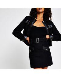 River Island Black Boucle Pu Mini Skirt