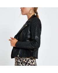 River Island - Leather Quilted Biker Jacket - Lyst
