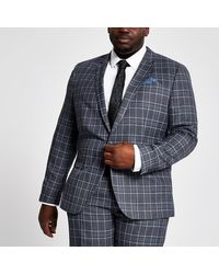 River Island Big And Tall Blue Check Suit Jacket