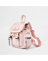 River Island Pink Ri Satin Backpack
